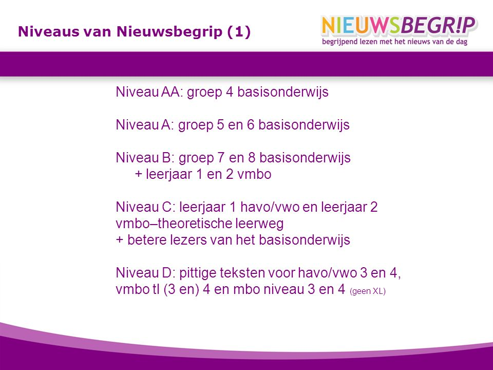 Niveaus van Nieuwsbegrip (1) Niveau AA: groep 4 basisonderwijs Niveau A: groep 5 en 6 basisonderwijs Niveau B: groep 7 en 8 basisonderwijs + leerjaar