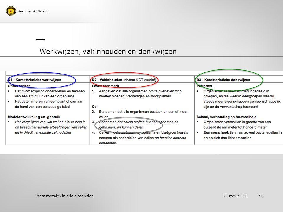 Werkwijzen, vakinhouden en denkwijzen 21 mei 2014 beta mozaiek in drie dimensies 24