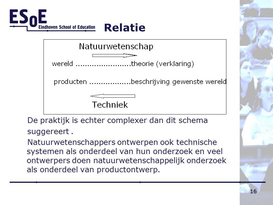 16 Relatie De praktijk is echter complexer dan dit schema suggereert. Natuurwetenschappers ontwerpen ook technische systemen als onderdeel van hun ond