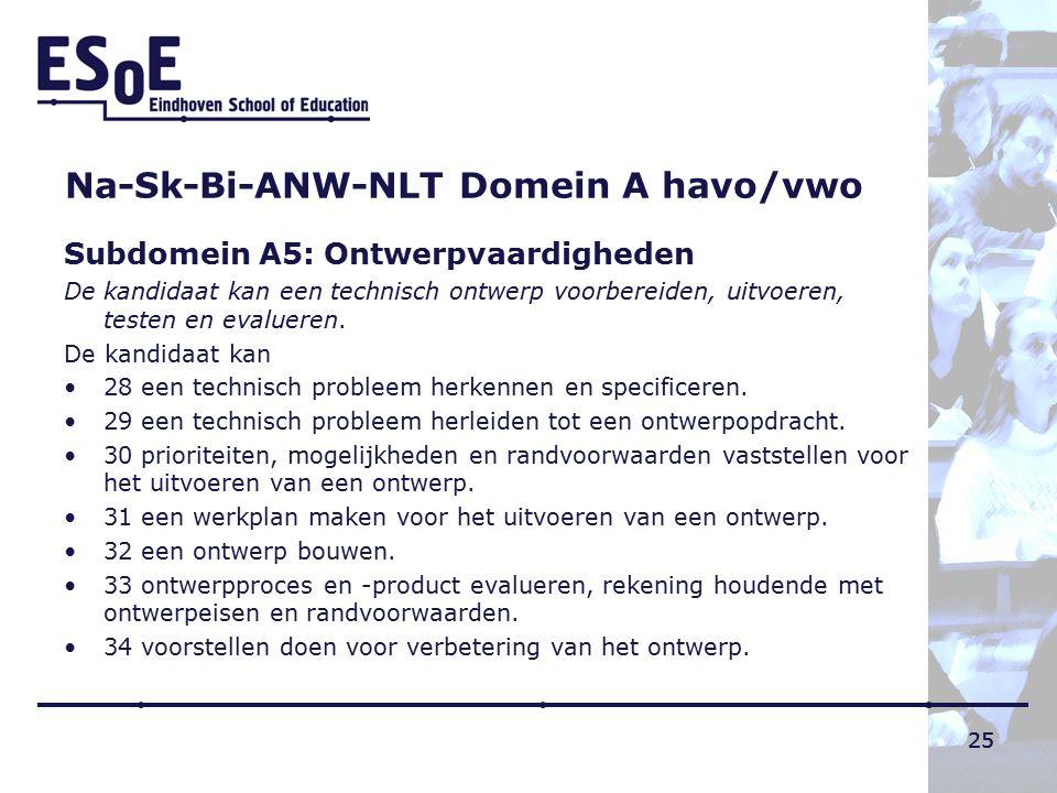 25 Na-Sk-Bi-ANW-NLT Domein A havo/vwo Subdomein A5: Ontwerpvaardigheden De kandidaat kan een technisch ontwerp voorbereiden, uitvoeren, testen en evalueren.