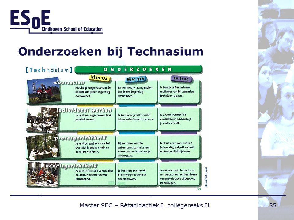 Onderzoeken bij Technasium Master SEC – Bètadidactiek I, collegereeks II35