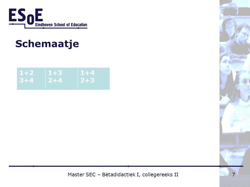 Schemaatje 1+2 3+4 1+3 2+4 1+4 2+3 Master SEC – Bètadidactiek I, collegereeks II7