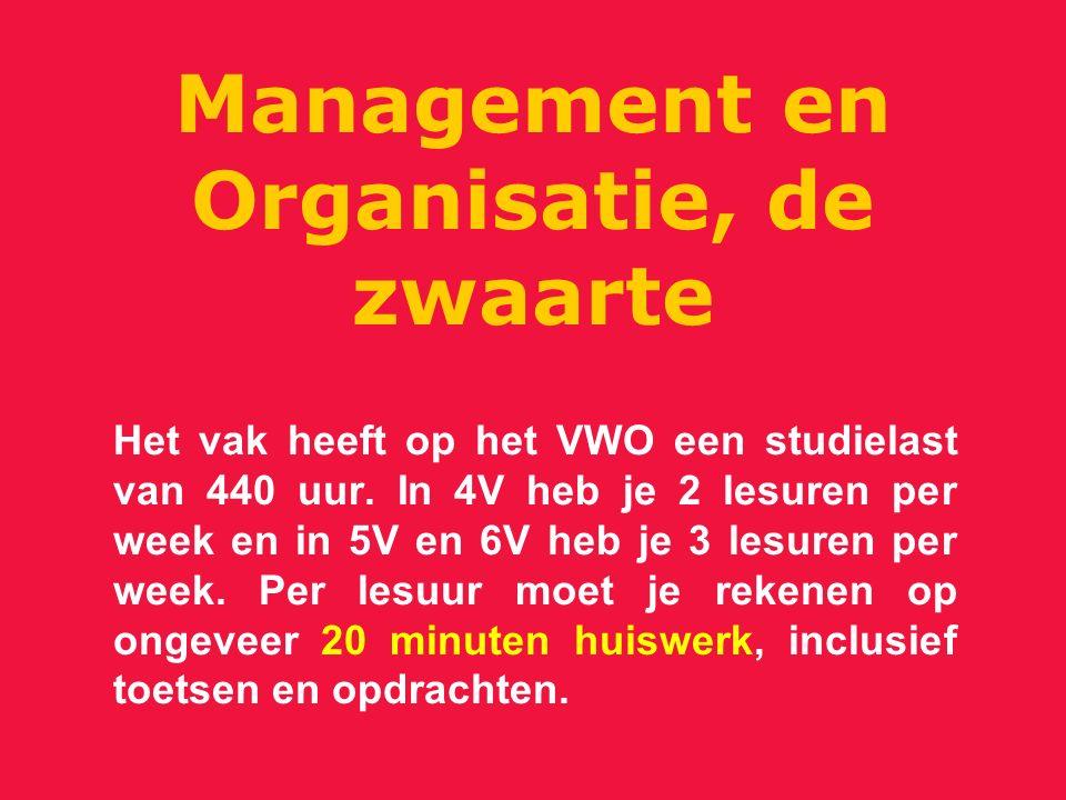 Management en Organisatie, de zwaarte Het vak heeft op het VWO een studielast van 440 uur. In 4V heb je 2 lesuren per week en in 5V en 6V heb je 3 les