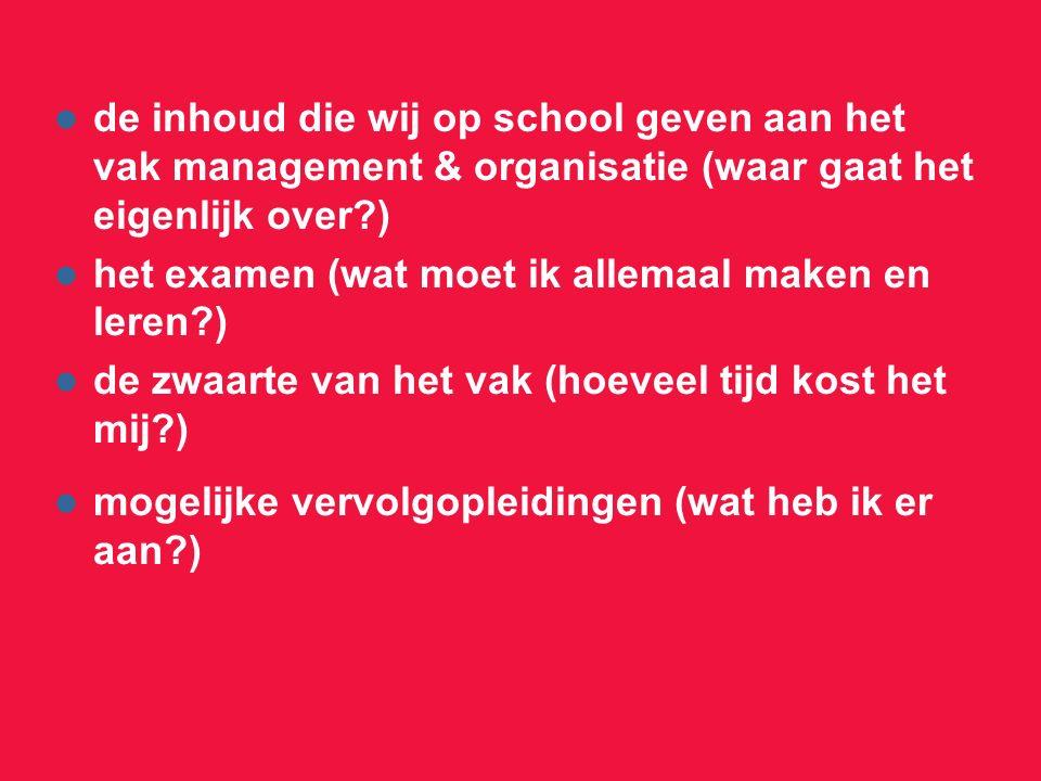 de inhoud die wij op school geven aan het vak management & organisatie (waar gaat het eigenlijk over?) het examen (wat moet ik allemaal maken en leren