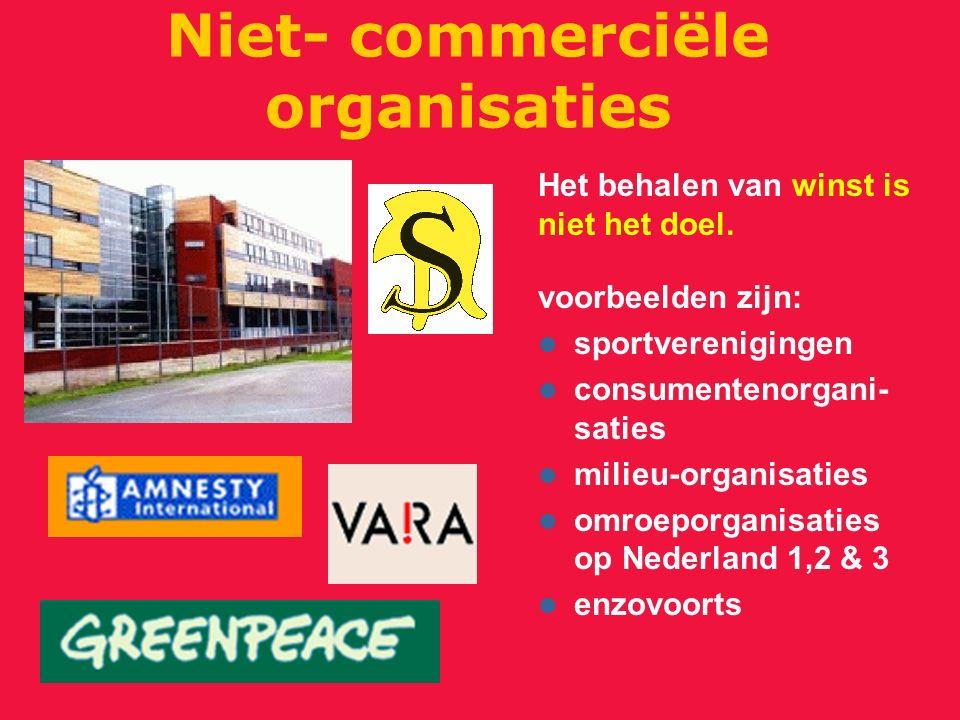 Niet- commerciële organisaties voorbeelden zijn: sportverenigingen consumentenorgani- saties milieu-organisaties omroeporganisaties op Nederland 1,2 &