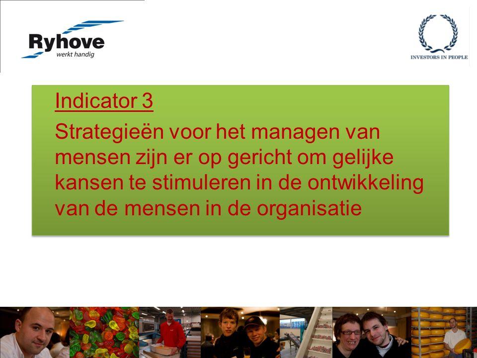 Indicator 3 Strategieën voor het managen van mensen zijn er op gericht om gelijke kansen te stimuleren in de ontwikkeling van de mensen in de organisatie Indicator 3 Strategieën voor het managen van mensen zijn er op gericht om gelijke kansen te stimuleren in de ontwikkeling van de mensen in de organisatie
