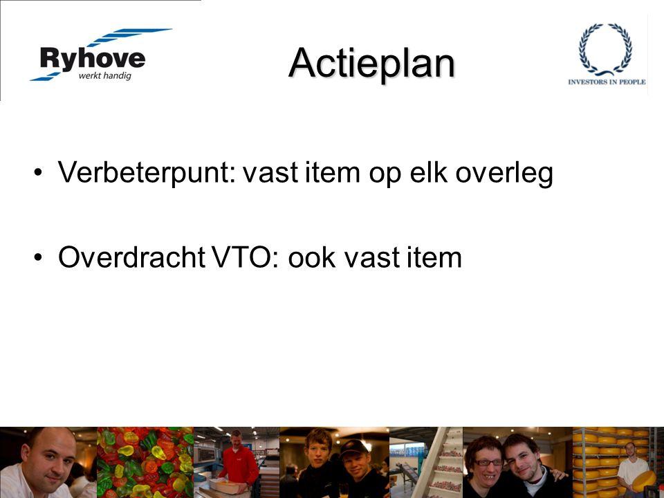 Actieplan Verbeterpunt: vast item op elk overleg Overdracht VTO: ook vast item