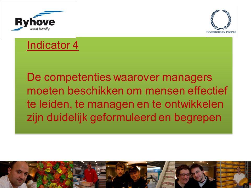Indicator 4 De competenties waarover managers moeten beschikken om mensen effectief te leiden, te managen en te ontwikkelen zijn duidelijk geformuleerd en begrepen Indicator 4 De competenties waarover managers moeten beschikken om mensen effectief te leiden, te managen en te ontwikkelen zijn duidelijk geformuleerd en begrepen