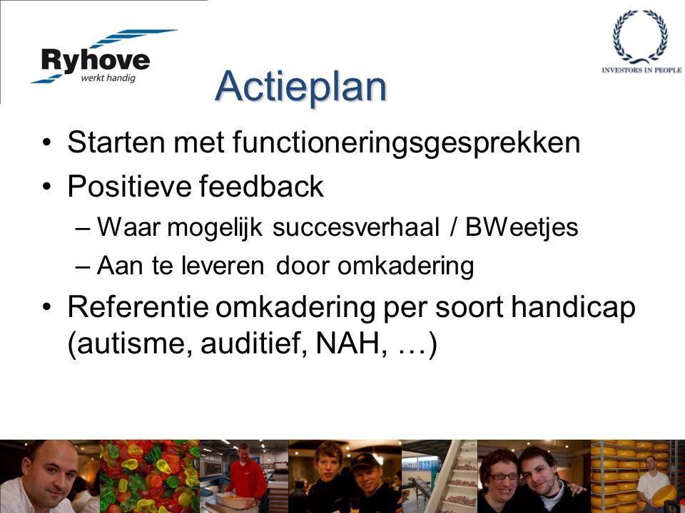 Starten met functioneringsgesprekken Positieve feedback –Waar mogelijk succesverhaal / BWeetjes –Aan te leveren door omkadering Referentie omkadering per soort handicap (autisme, auditief, NAH, …) Actieplan