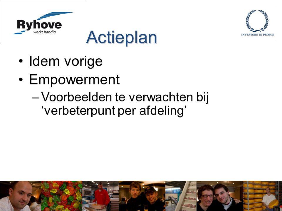 Idem vorige Empowerment –Voorbeelden te verwachten bij 'verbeterpunt per afdeling' Actieplan