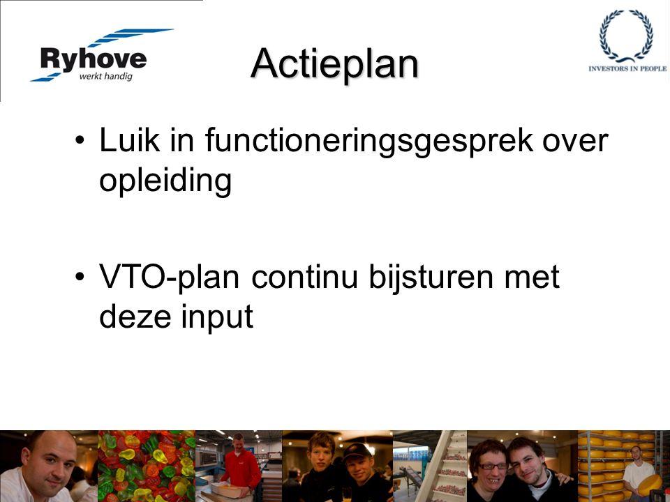 Actieplan Luik in functioneringsgesprek over opleiding VTO-plan continu bijsturen met deze input