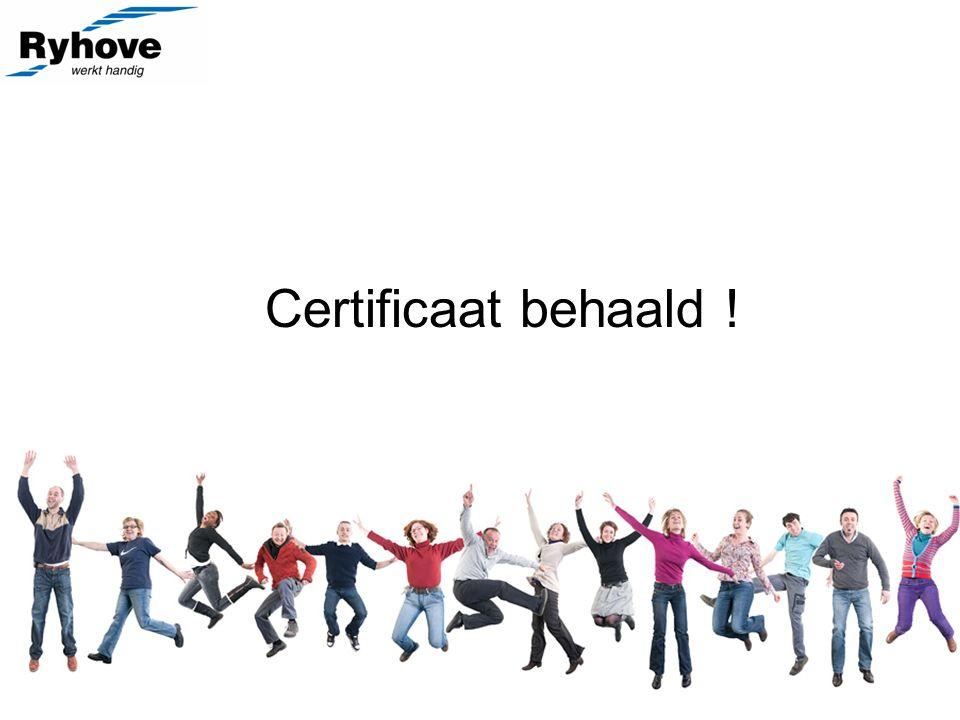 Certificaat behaald !