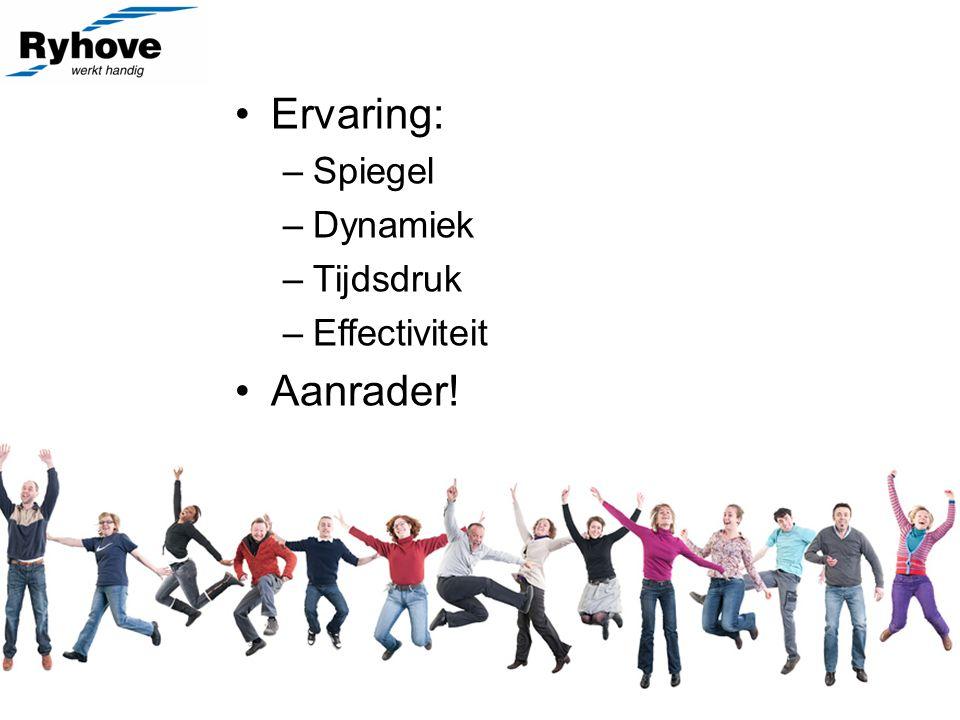 Ervaring: –Spiegel –Dynamiek –Tijdsdruk –Effectiviteit Aanrader!