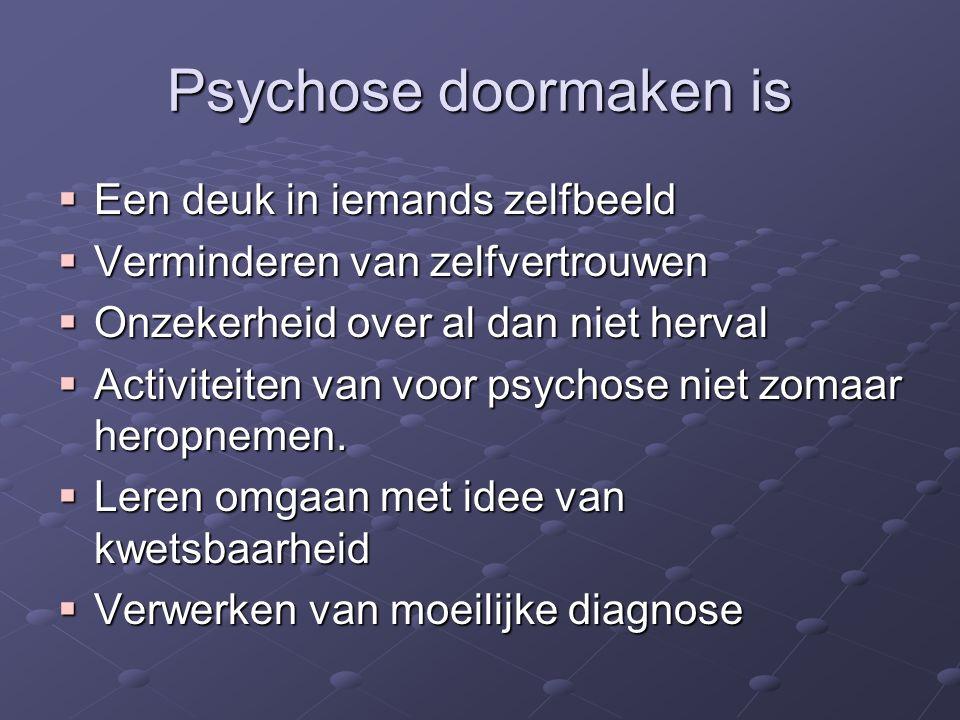 Psychose doormaken is  Een deuk in iemands zelfbeeld  Verminderen van zelfvertrouwen  Onzekerheid over al dan niet herval  Activiteiten van voor p