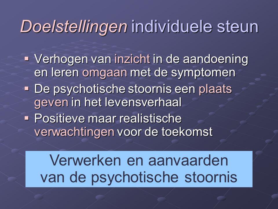 Doelstellingen individuele steun  Verhogen van inzicht in de aandoening en leren omgaan met de symptomen  De psychotische stoornis een plaats geven in het levensverhaal  Positieve maar realistische verwachtingen voor de toekomst Verwerken en aanvaarden van de psychotische stoornis