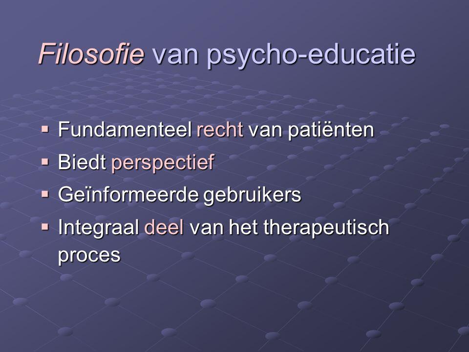 Filosofie van psycho-educatie  Fundamenteel recht van patiënten  Biedt perspectief  Geïnformeerde gebruikers  Integraal deel van het therapeutisch proces