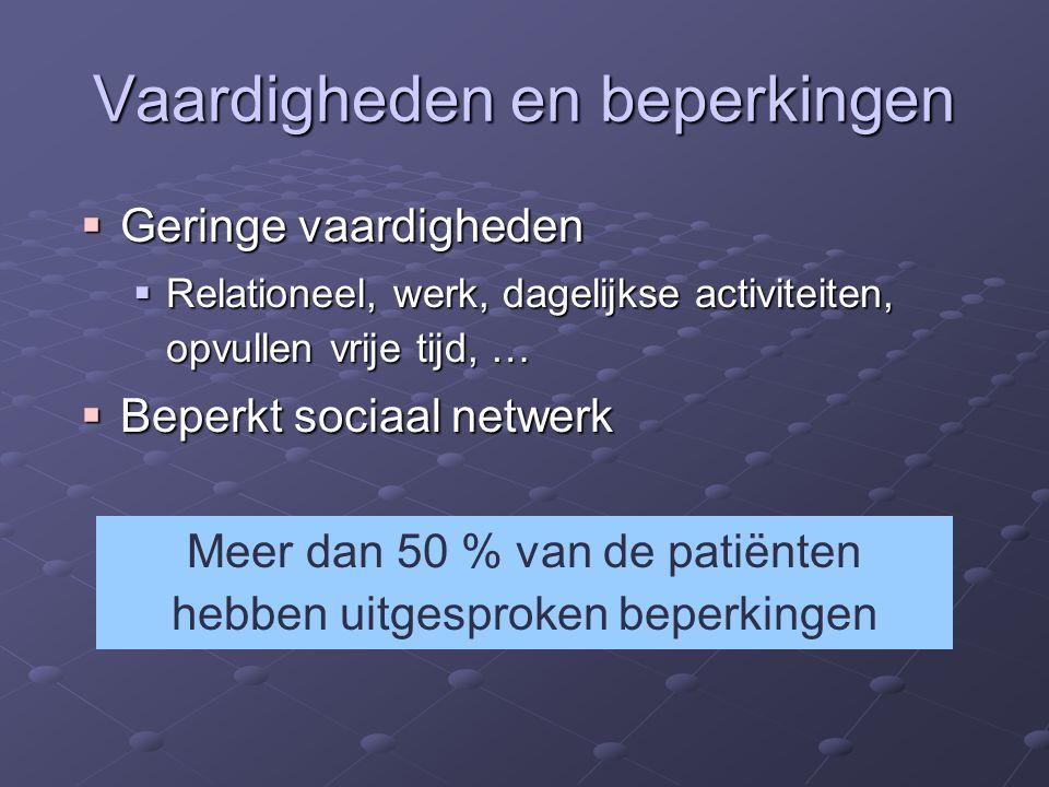 Vaardigheden en beperkingen  Geringe vaardigheden  Relationeel, werk, dagelijkse activiteiten, opvullen vrije tijd, …  Beperkt sociaal netwerk Meer