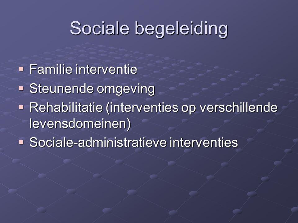 Sociale begeleiding  Familie interventie  Steunende omgeving  Rehabilitatie (interventies op verschillende levensdomeinen)  Sociale-administratieve interventies