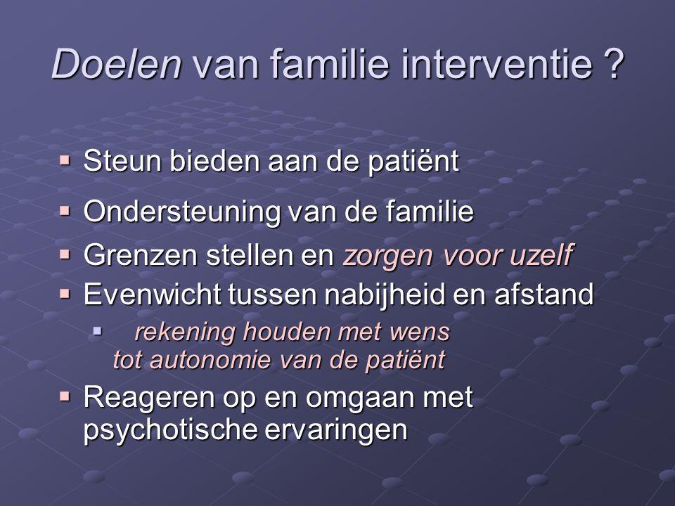 Doelen van familie interventie ?  Steun bieden aan de patiënt  Ondersteuning van de familie  Grenzen stellen en zorgen voor uzelf  Evenwicht tusse