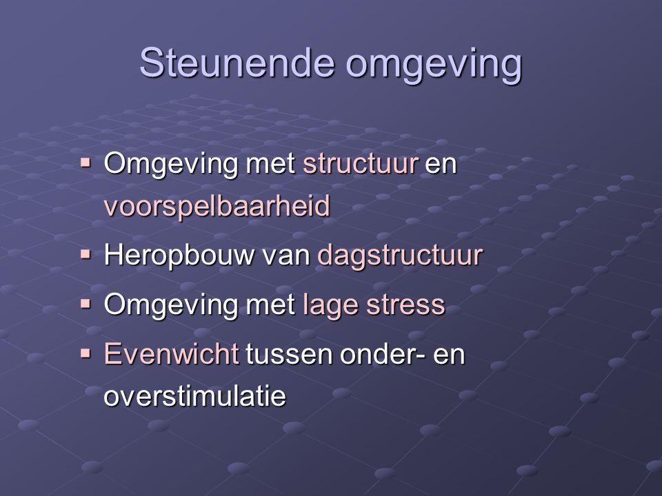 Steunende omgeving  Omgeving met structuur en voorspelbaarheid  Heropbouw van dagstructuur  Omgeving met lage stress  Evenwicht tussen onder- en overstimulatie