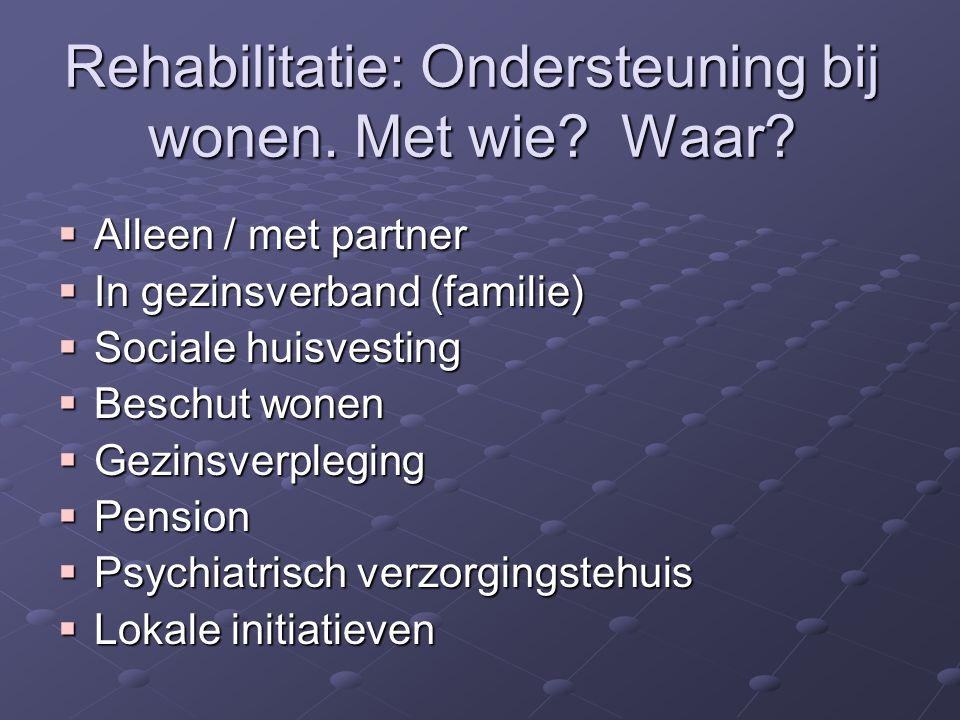 Rehabilitatie: Ondersteuning bij wonen. Met wie. Waar.