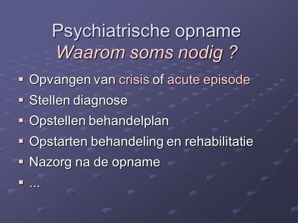 Psychiatrische opname Waarom soms nodig ?  Opvangen van crisis of acute episode  Stellen diagnose  Opstellen behandelplan  Opstarten behandeling e