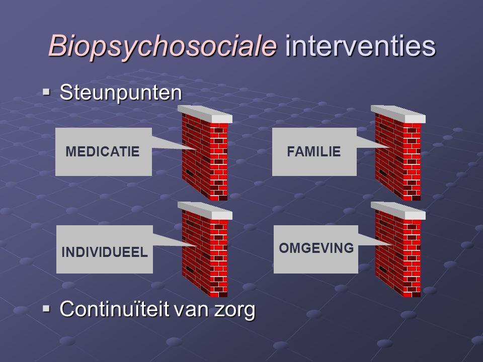 Steunpunten  Continuïteit van zorg Biopsychosociale interventies MEDICATIE OMGEVING FAMILIE INDIVIDUEEL