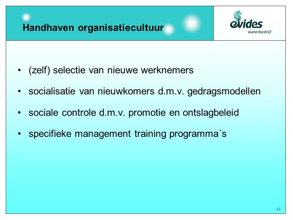 12 Handhaven organisatiecultuur (zelf) selectie van nieuwe werknemers socialisatie van nieuwkomers d.m.v. gedragsmodellen sociale controle d.m.v. prom