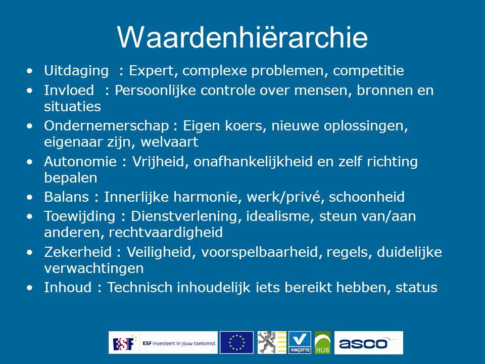 Uitdaging : Expert, complexe problemen, competitie Invloed : Persoonlijke controle over mensen, bronnen en situaties Ondernemerschap : Eigen koers, ni