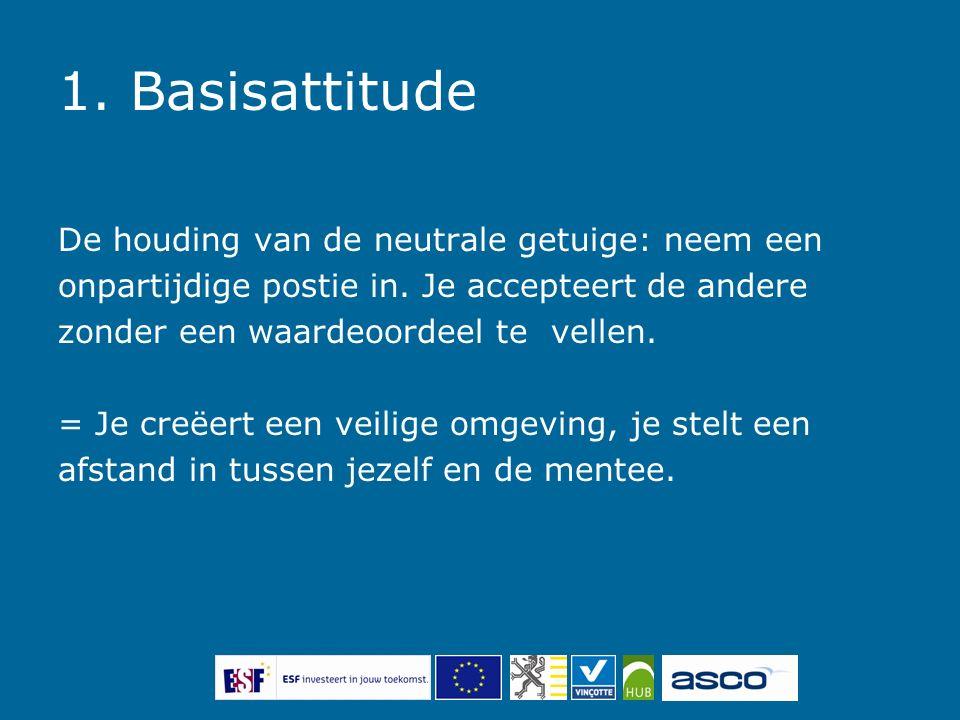 1. Basisattitude De houding van de neutrale getuige: neem een onpartijdige postie in.