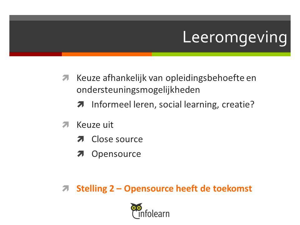 Leeromgeving  Keuze afhankelijk van opleidingsbehoefte en ondersteuningsmogelijkheden  Informeel leren, social learning, creatie.