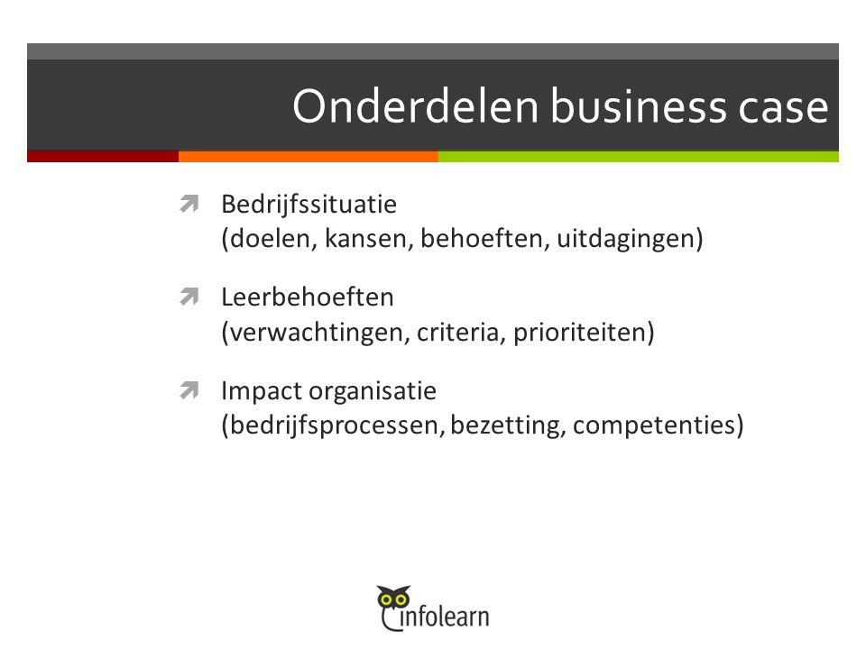 Onderdelen business case  Bedrijfssituatie (doelen, kansen, behoeften, uitdagingen)  Leerbehoeften (verwachtingen, criteria, prioriteiten)  Impact organisatie (bedrijfsprocessen, bezetting, competenties)