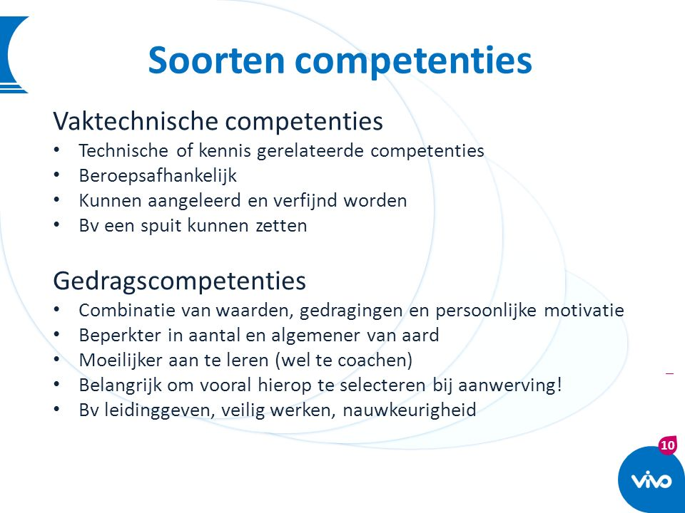 10 | Soorten competenties Vaktechnische competenties Technische of kennis gerelateerde competenties Beroepsafhankelijk Kunnen aangeleerd en verfijnd w