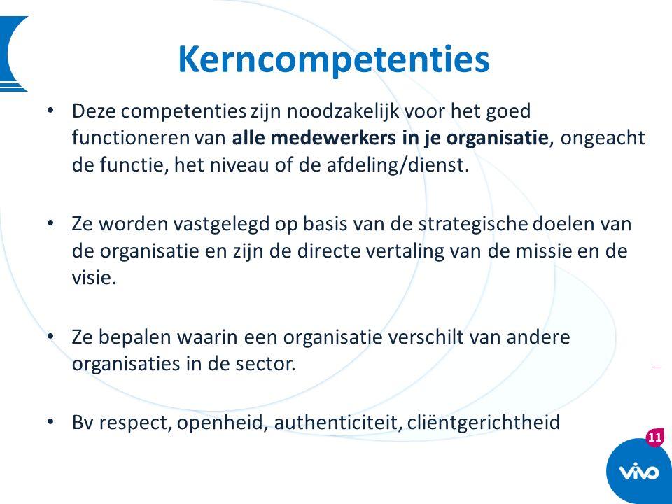 11 | Kerncompetenties Deze competenties zijn noodzakelijk voor het goed functioneren van alle medewerkers in je organisatie, ongeacht de functie, het