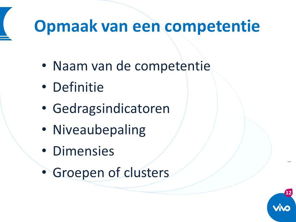 12 | Opmaak van een competentie Naam van de competentie Definitie Gedragsindicatoren Niveaubepaling Dimensies Groepen of clusters