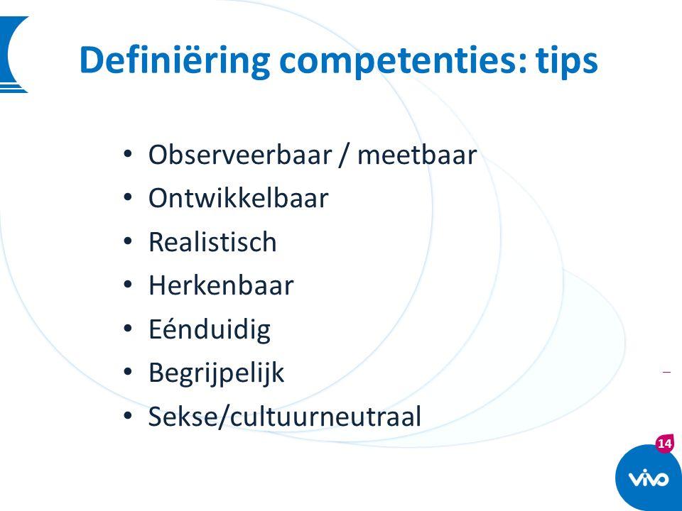 14 | Definiëring competenties: tips Observeerbaar / meetbaar Ontwikkelbaar Realistisch Herkenbaar Eénduidig Begrijpelijk Sekse/cultuurneutraal