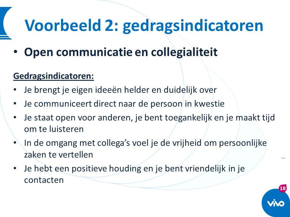 18 | Open communicatie en collegialiteit Gedragsindicatoren: Je brengt je eigen ideeën helder en duidelijk over Je communiceert direct naar de persoon