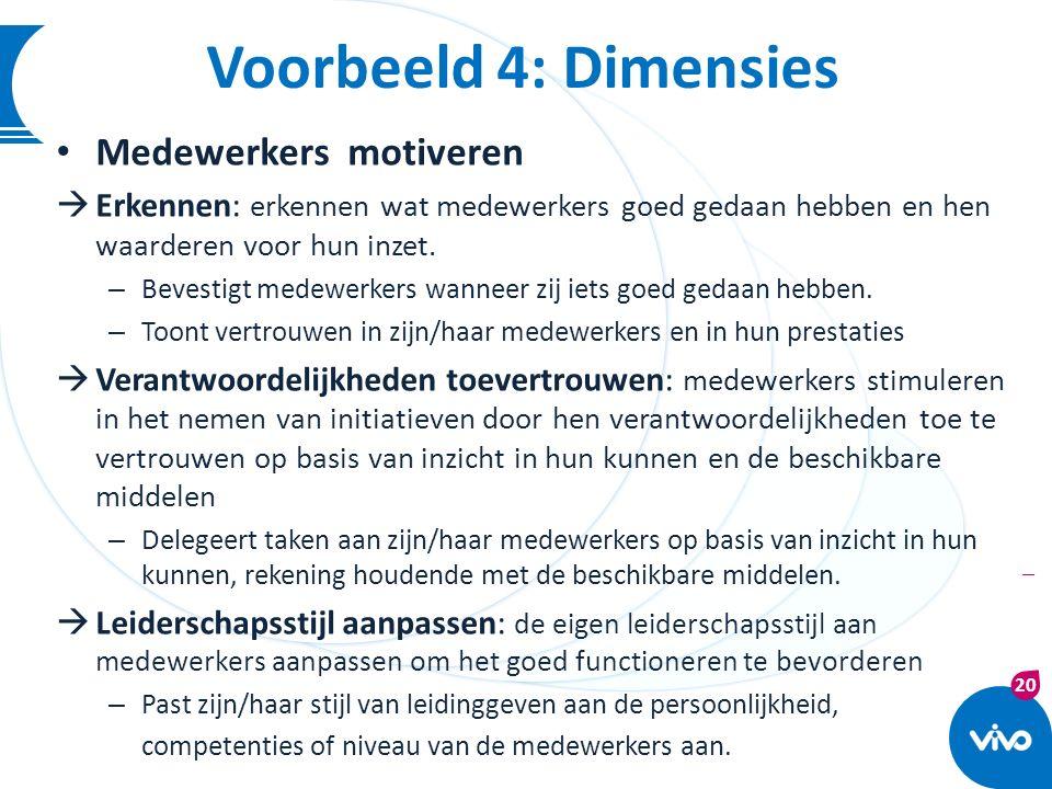20 | Medewerkers motiveren  Erkennen: erkennen wat medewerkers goed gedaan hebben en hen waarderen voor hun inzet. – Bevestigt medewerkers wanneer zi