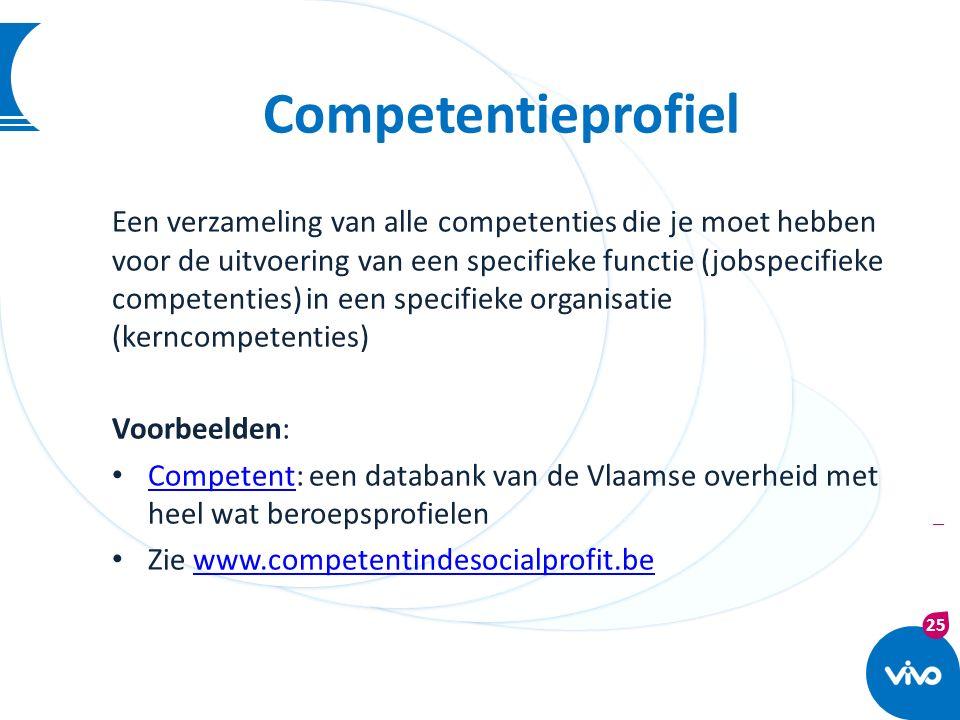 25 | Competentieprofiel Een verzameling van alle competenties die je moet hebben voor de uitvoering van een specifieke functie (jobspecifieke competen