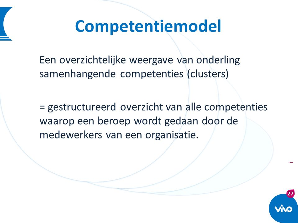 27 | Competentiemodel Een overzichtelijke weergave van onderling samenhangende competenties (clusters) = gestructureerd overzicht van alle competentie
