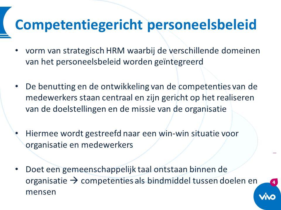 4 | Competentiegericht personeelsbeleid vorm van strategisch HRM waarbij de verschillende domeinen van het personeelsbeleid worden geïntegreerd De ben
