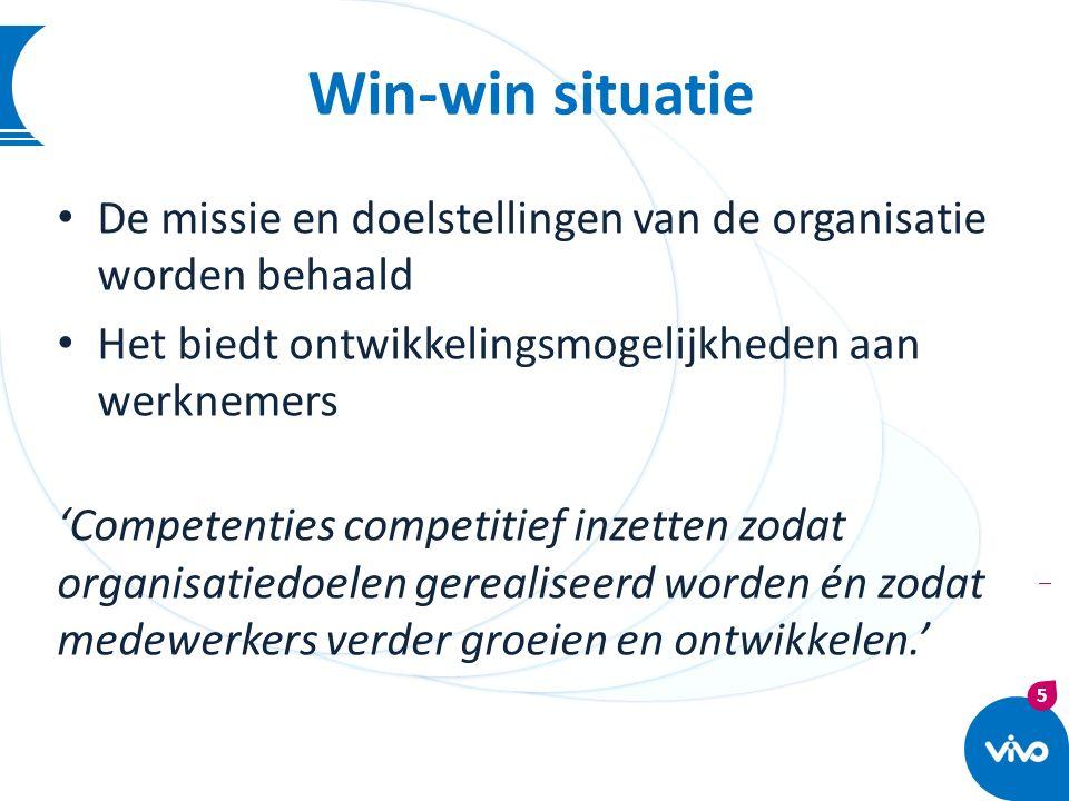 5 | Win-win situatie De missie en doelstellingen van de organisatie worden behaald Het biedt ontwikkelingsmogelijkheden aan werknemers 'Competenties c