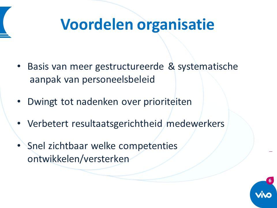 6 | Voordelen organisatie Basis van meer gestructureerde & systematische aanpak van personeelsbeleid Dwingt tot nadenken over prioriteiten Verbetert r