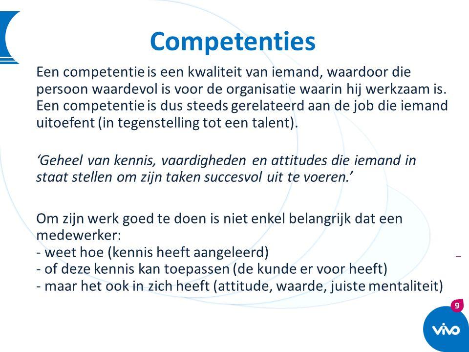 9 | Competenties Een competentie is een kwaliteit van iemand, waardoor die persoon waardevol is voor de organisatie waarin hij werkzaam is. Een compet