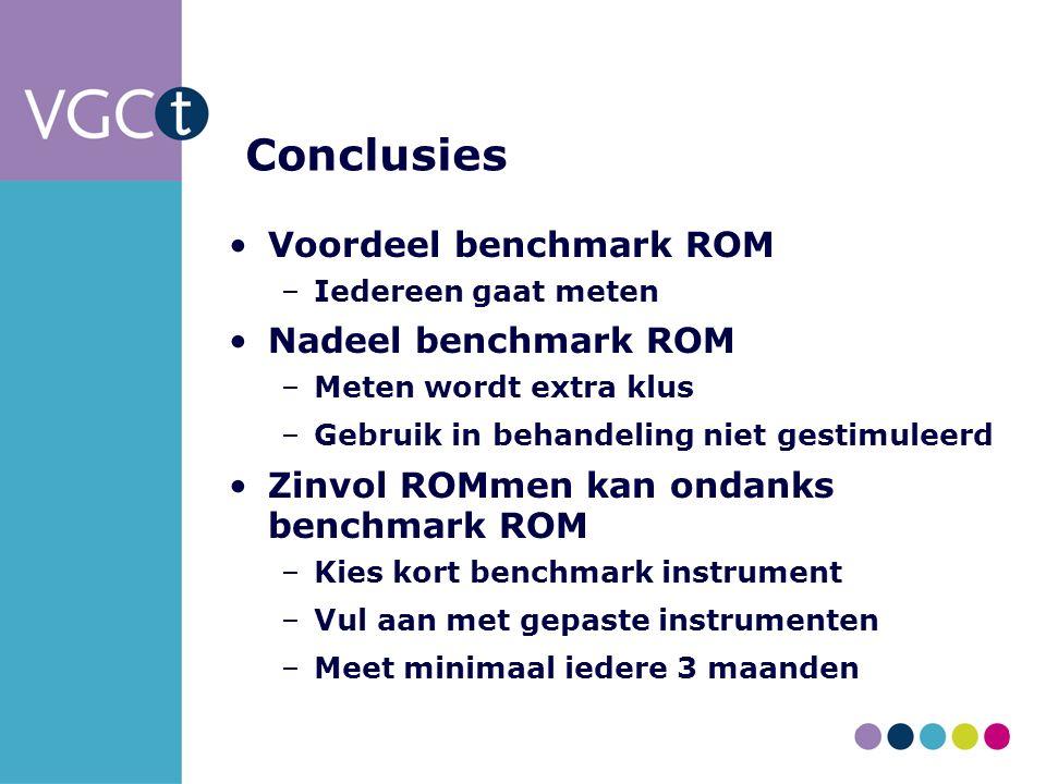 Conclusies Voordeel benchmark ROM –Iedereen gaat meten Nadeel benchmark ROM –Meten wordt extra klus –Gebruik in behandeling niet gestimuleerd Zinvol ROMmen kan ondanks benchmark ROM –Kies kort benchmark instrument –Vul aan met gepaste instrumenten –Meet minimaal iedere 3 maanden