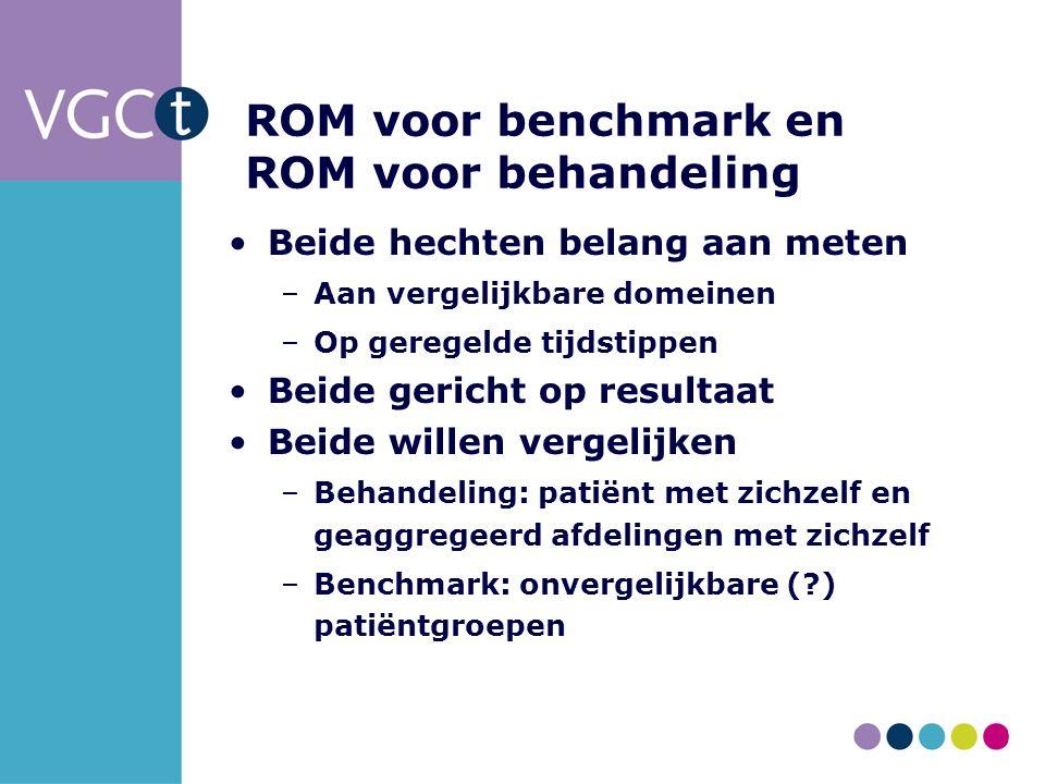 ROM voor benchmark en ROM voor behandeling Beide hechten belang aan meten –Aan vergelijkbare domeinen –Op geregelde tijdstippen Beide gericht op resultaat Beide willen vergelijken –Behandeling: patiënt met zichzelf en geaggregeerd afdelingen met zichzelf –Benchmark: onvergelijkbare ( ) patiëntgroepen