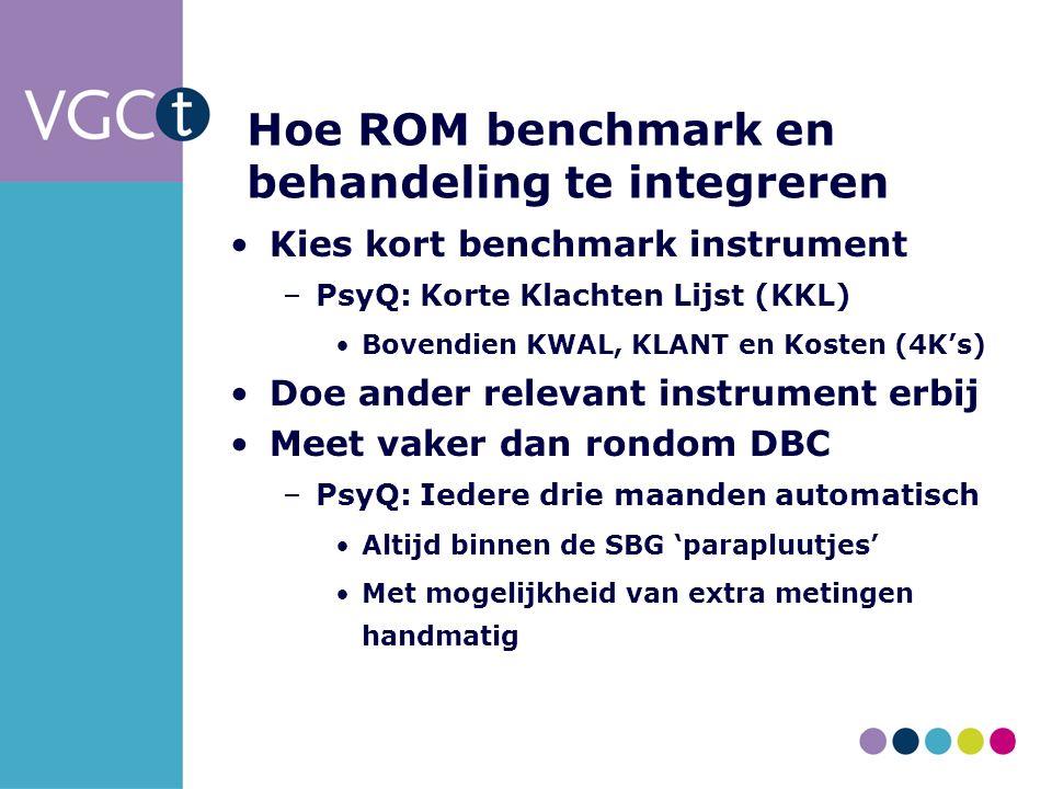 Hoe ROM benchmark en behandeling te integreren Kies kort benchmark instrument –PsyQ: Korte Klachten Lijst (KKL) Bovendien KWAL, KLANT en Kosten (4K's) Doe ander relevant instrument erbij Meet vaker dan rondom DBC –PsyQ: Iedere drie maanden automatisch Altijd binnen de SBG 'parapluutjes' Met mogelijkheid van extra metingen handmatig