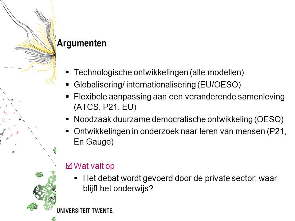 Argumenten  Technologische ontwikkelingen (alle modellen)  Globalisering/ internationalisering (EU/OESO)  Flexibele aanpassing aan een veranderende samenleving (ATCS, P21, EU)  Noodzaak duurzame democratische ontwikkeling (OESO)  Ontwikkelingen in onderzoek naar leren van mensen (P21, En Gauge)  Wat valt op  Het debat wordt gevoerd door de private sector; waar blijft het onderwijs?