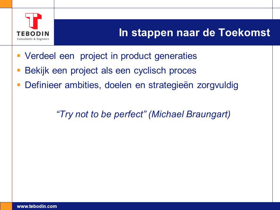 www.tebodin.com In stappen naar de Toekomst  Verdeel een project in product generaties  Bekijk een project als een cyclisch proces  Definieer ambit