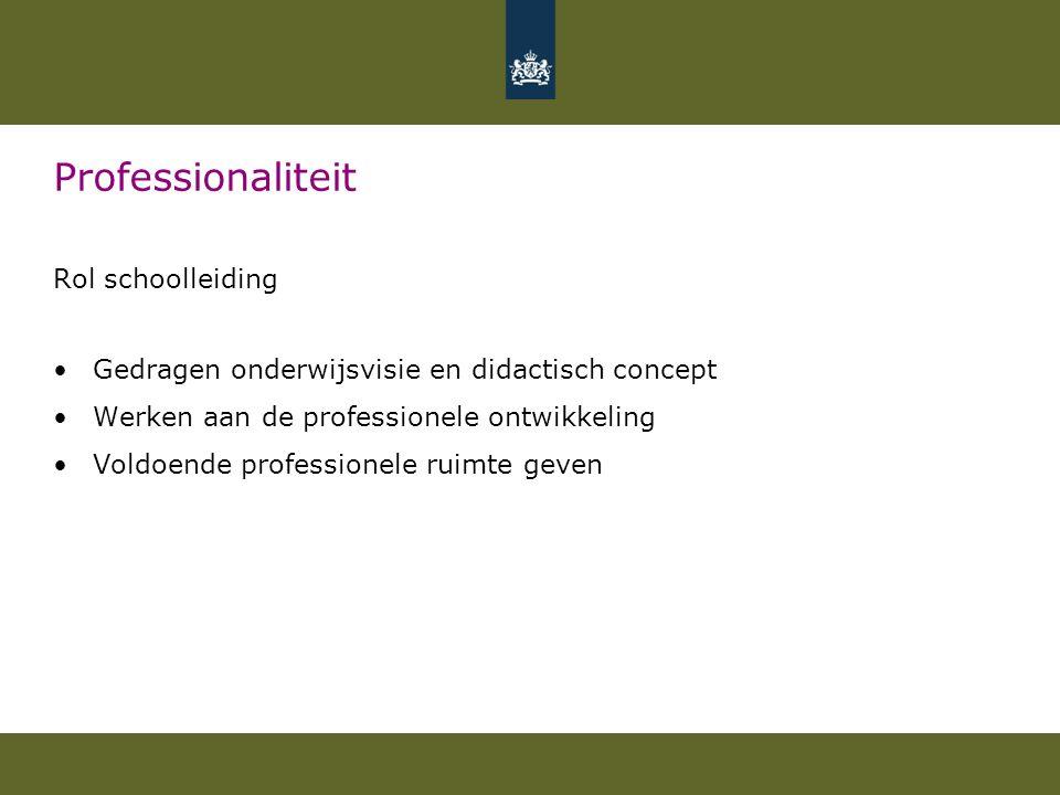 Professionaliteit Rol schoolleiding Gedragen onderwijsvisie en didactisch concept Werken aan de professionele ontwikkeling Voldoende professionele ruimte geven